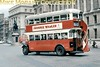 Preserved London Transport Tilling ST922 double-deck bus with outside staircase on heritage route 100 northbound in Whitehall in central London.<br> [<i>Slide taken by Mike Morant</i>]