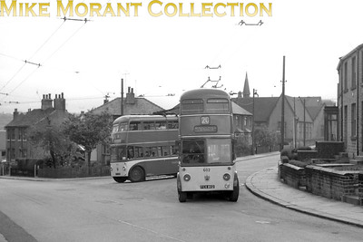 Huddersfield Corporation buses Fleet no.: 602 & 600 Registration: FCX 802 & FCX 800 Chassis: Sunbeam Body: Roe Entered service: 6/51 & 3/51 Withdrawn: 7/66 (both) [Mike Morant collection]