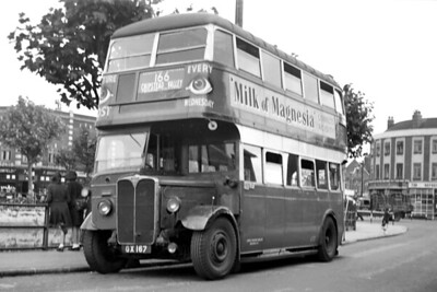 London Transport 'Pickup' STL556 on route 166 taken on a Saturday between 10/4/1948 and 9/4/1949 at Thornton Heath Pond. At that time the 166 ran between Chipstead Valley and Thornton Heath Pond. STL556, registration no. GX167 and allocated to TC (Croydon) garage, would be withdrawn in April 1949 but would continue to be used as part of the Special Events fleet until the following July. [Mike Morant collection]