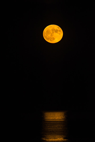 Supermoon over the ocean
