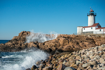 Waves breaking at Eastern Point Lighthouse