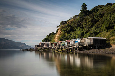 Duvauchelle boat sheds, Banks Peninsula Canterbury NZ