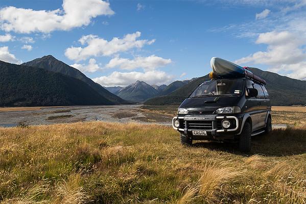 Looking across the Waimakariri river and up towards  the Hawdon Valley, Arthurs Pass NZ