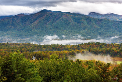Cades Cove Methodist Church and the Smoky Mountain Front
