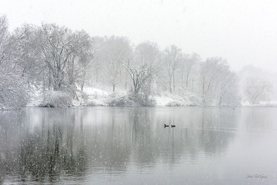 Spring Snowstorm at Cherokee Park Lake