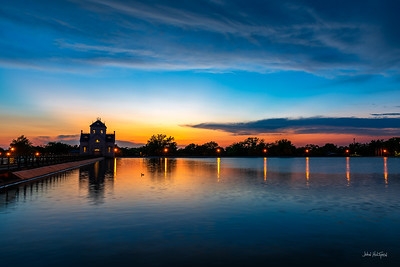 Sunset at the Crescent Hill Reservoir and Gatehouse