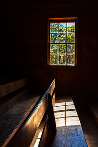 Pews Inside Primitive Baptist Church in Cades Cove