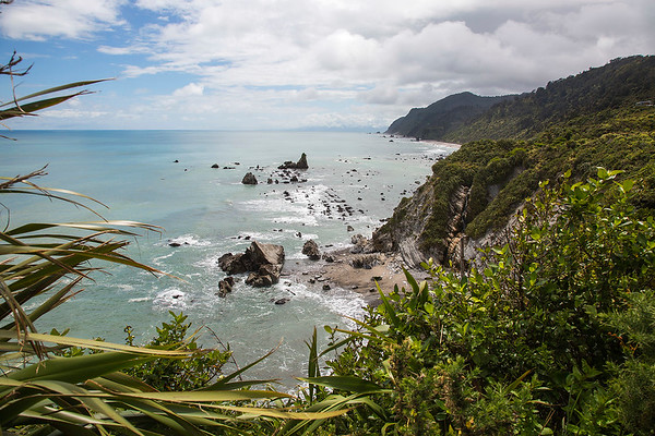 View from Gentle Annie looking up the coast towards Karamea