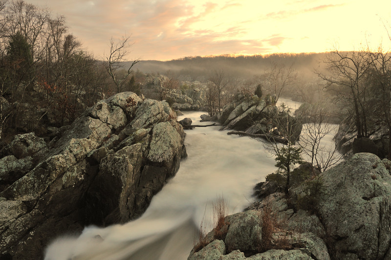 Sunset over the Fishladder section of Great Falls of the Potomac River<br /> <br /> Montgomery County, Maryland<br /> December 2011