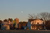 almost full moon rising, sun setting casting golden glow<br /> St. Mary's County, Maryland<br /> December 2013