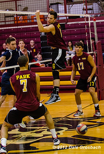 Image #0418  January 19, 2013; Parkville, MO; Park University (MO) Pirates Men's Volleyball vs. Clarke University (IA) Crusaders.  Mandatory Credit: Dale Grosbach-Dale G Sports