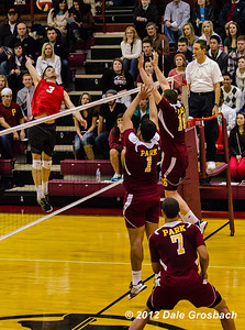 Image #0491  January 18, 2013; Parkville, MO; Park University (MO) Pirates Men's Volleyball vs. St. Ambrose University (IA) Bees.  Mandatory Credit: Dale Grosbach-Dale G Sports
