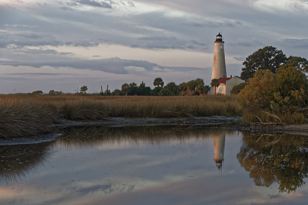 Warm morning light falls on the St. Marks Lighthouse