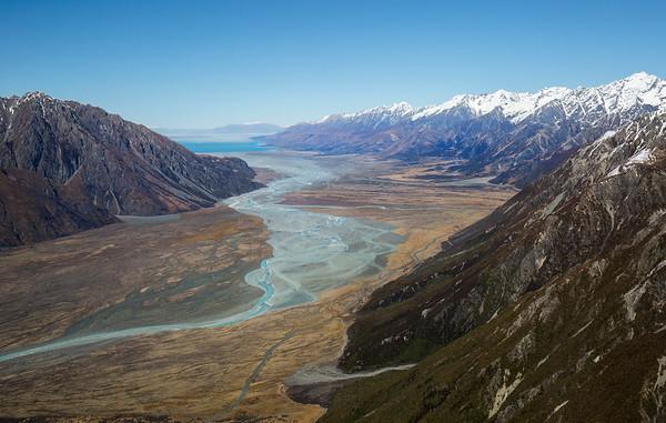 Looking down the Tasman Valley to Lake Pukaki