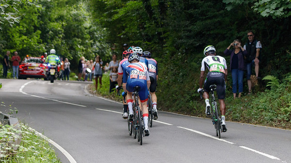 Tour of Britain 2018 - Stage 1, Pembrey to Newport. Breakaway: 112 Richard Handley (Madison Genesis), 53 Thomas Moses (JLT Condor), 146 Rory Townsend (Canyon Eisberg), 13 Nicholas Dlamini (Team Dimension Data), 42 Mark Downey (Team Wiggins), 162 Matthew Bostock (Great Britain GBR).