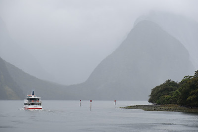 View of boat on Milford Sound, South Island, New Zealand
