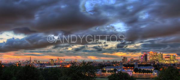 London Skyline Sunset Panorama
