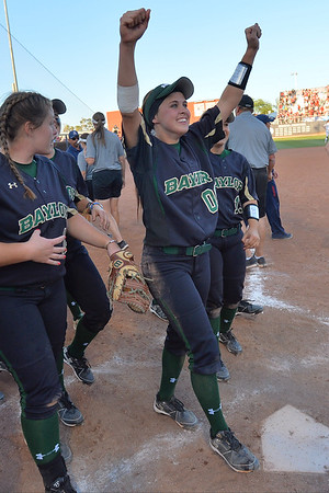 TUCSON, AZ - MAY 28:  The Baylor Bears celebrate after winning game three of the NCAA Div. I Super Regional against the Arizona Wildcats on May 26, 2017 at Hillenbrand Stadium in Tucson, Arizona. Baylor won 6-5 to advance to the Women's College World Series in Oklahoma City, Oklahoma.  (Photo by Sam Wasson)