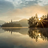 Sunrise on Lake Bled, Slovenia