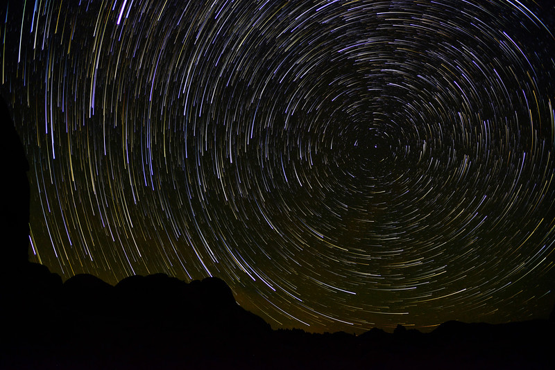 Star trails and north star, California
