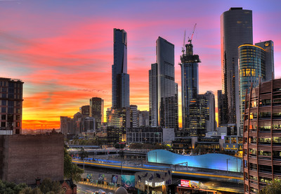 Melbourne Skyline Sunrise