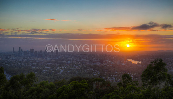 Sunrise at Mount Coot-tha Lookout