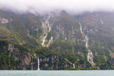 View from boat on Milford Sound, South Island, New Zealand
