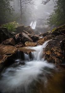 Thick fog at Glen Marie Falls