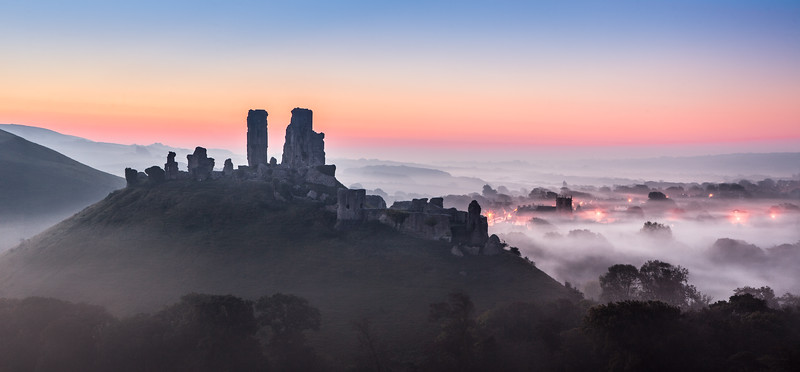 Corfe Castle before sunrise