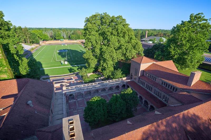 View of the Cranbrook Alumni Courtyard and Football Oval from the Hoey Observatory Tower
