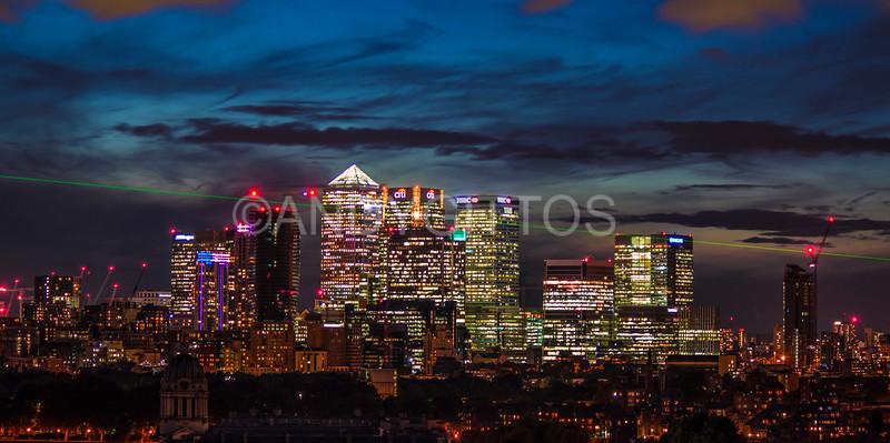 Canary Wharf Skyline and Meridian Laser