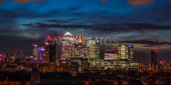Canary Wharf Skyline and Meridian Laser