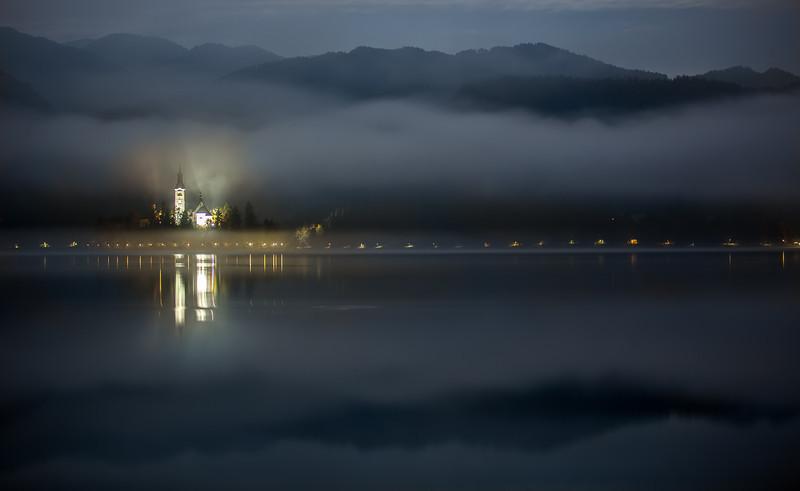 Lake Bled in morning mist, Slovenia
