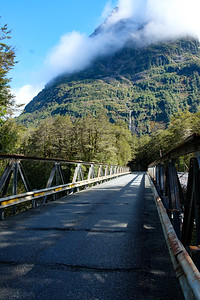Bridge on State Highway 94, road to Milford Sound, Fjordland, New Zealand