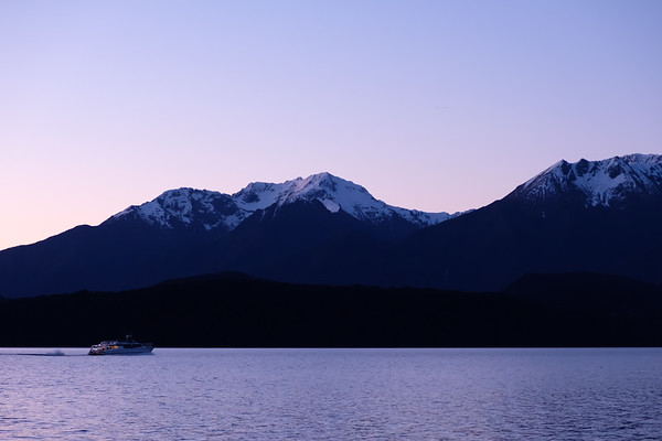 Night view of boat on Lake Te Anau, South Island New Zealand