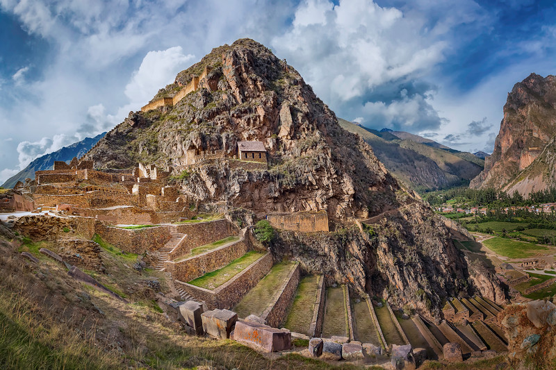 Ollantaytambo, Peru (November 2018).<br /> <br /> These Inca ruins are the site of Manco Inca's only successful battle against the Spanish in his uprising.  There is still a town at the base of the Inca ruins, and it is largely still a traditional village.  <br /> <br /> It is about halfway between Cusco and Machu Picchu, and this is where the road ends and you have to take a train the rest of the way to Machu Picchu.
