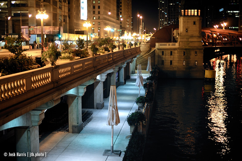 View from Wacker Drive at Clark Street, Chicago, August 2008.