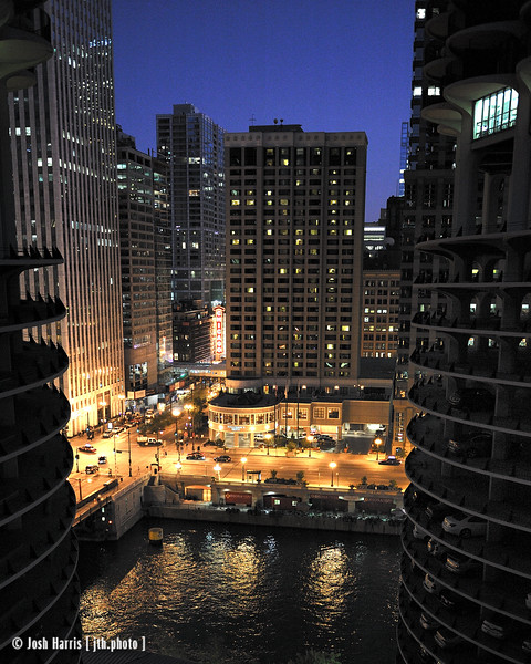 View of State Street and Wacker Drive, Chicago, August 2008.