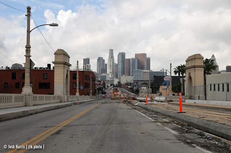 View west from 1st Street Bridge, Los Angeles, February 2008.