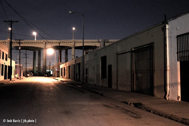 View of 6th Street Bridge from Anderson Street, Los Angeles, March 2008.