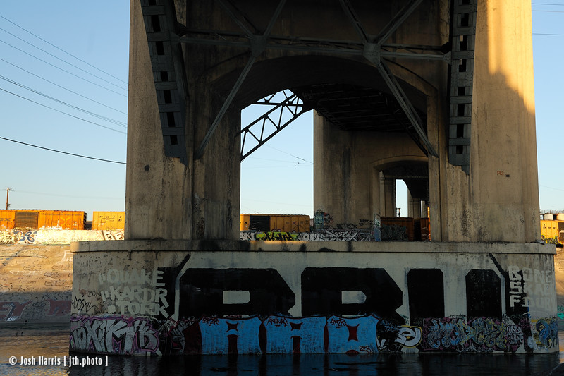 L.A. River, under the 6th Street Bridge, Los Angeles, April 2009.