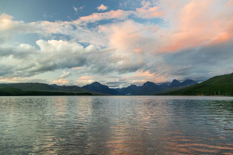 Evening alpenglow over Lake McDonald