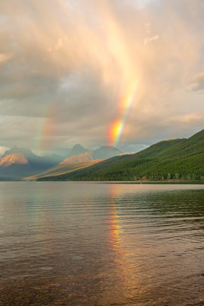 Evening rainbow out beyond Lake McDonald