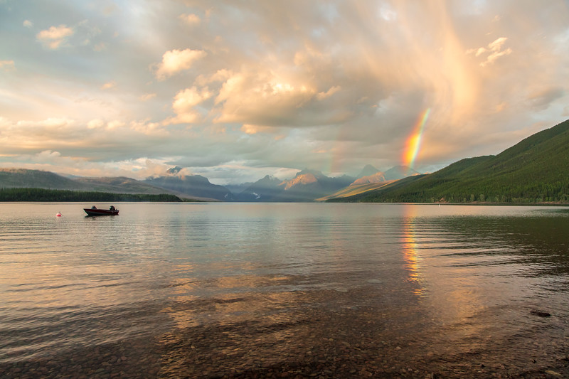 Evening rainbow somewhere out beyond Lake McDonald