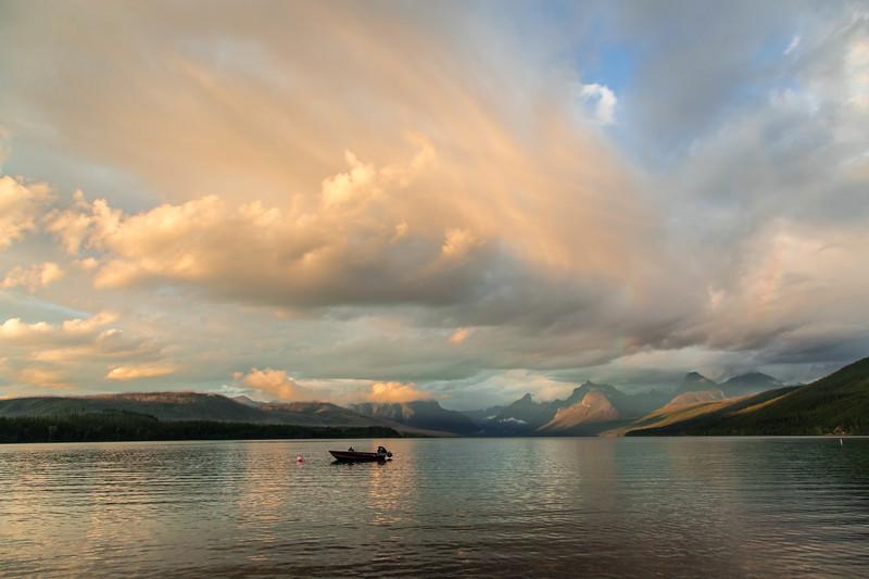 Evening storm clouds brewing up over Lake McDonald