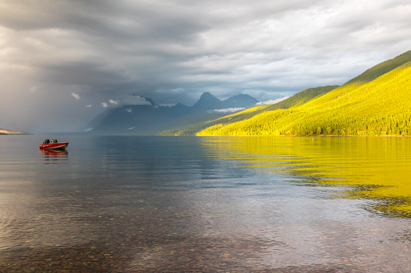 Colorful and stormy evening over Lake McDonald