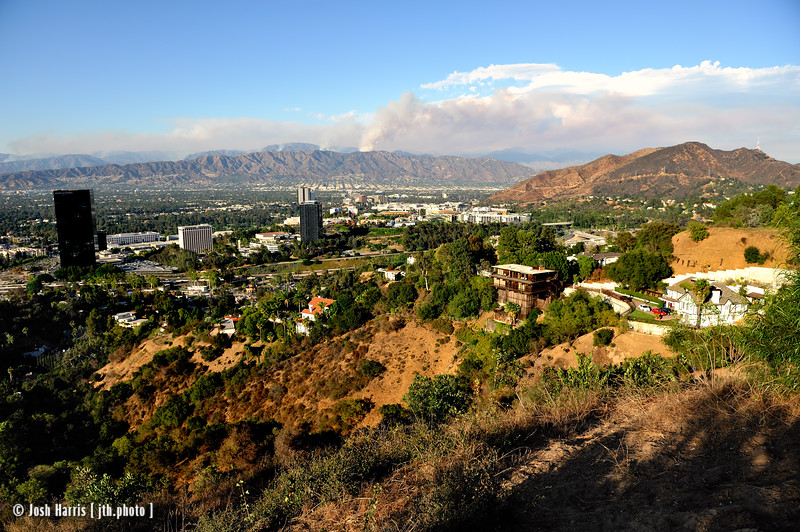 View northeast from Mulholland Drive, Los Angeles, August 2009.