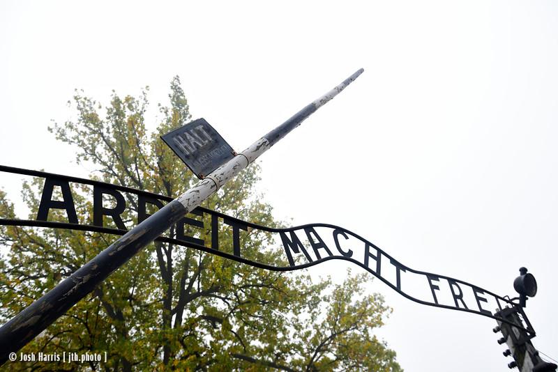 Entrance, Auschwitz,  Poland, October 2018.