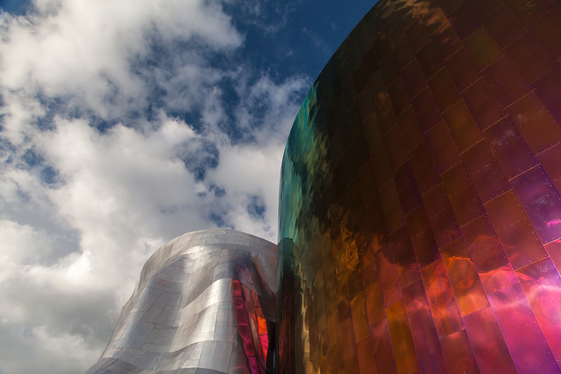 EMP Museum and clouds-Seattle Center