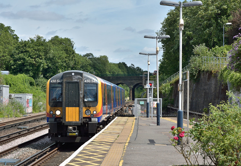 Desiro 450547 draws into Surbiton working 1A33 12.23 service from  Waterloo to Alton<br /> <br /> 23 June 2017